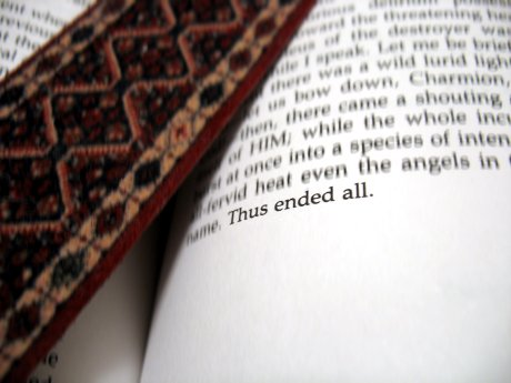 Open book and bookmark