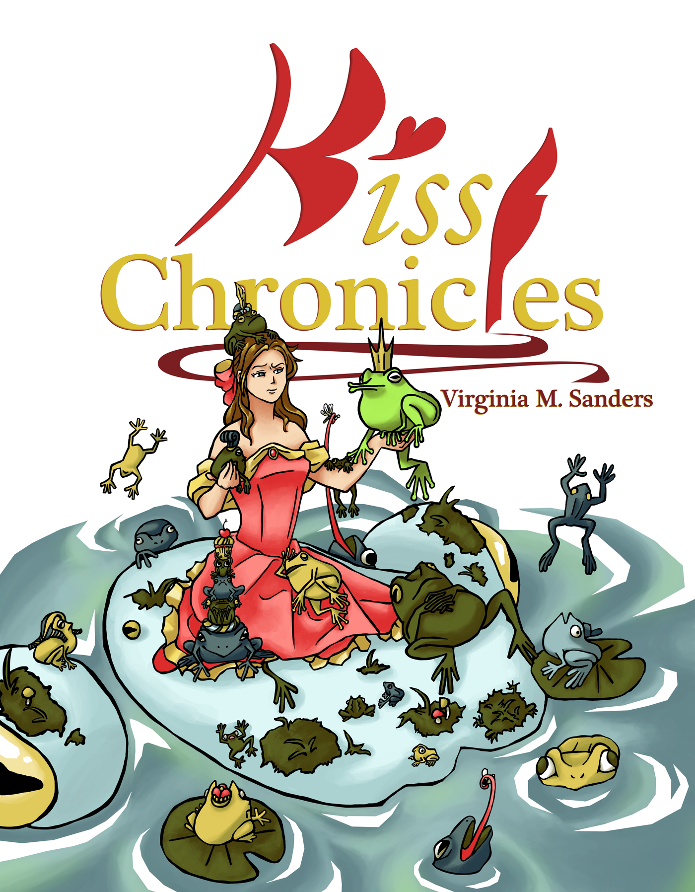 The Kiss Chronicles ebook cover - frogs everywhere!