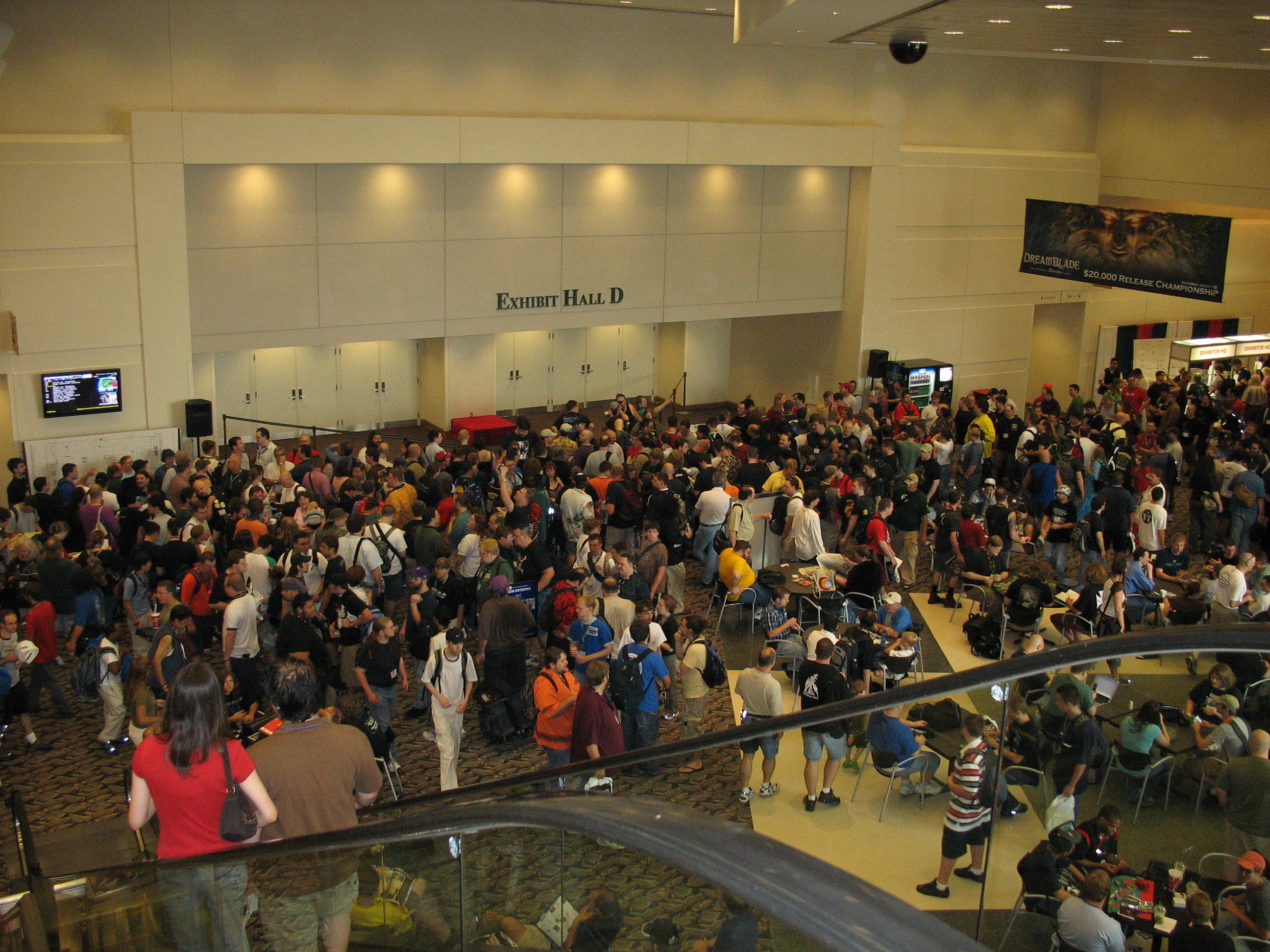 Hundreds of gamers waiting for the GenCon Exhibit Hall to open.